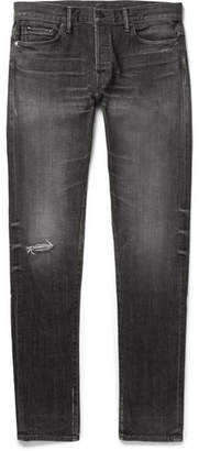 John Elliott Slim-Fit Distressed Denim Jeans