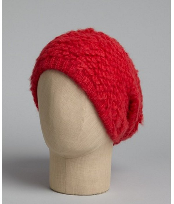 Free People raspberry knit slouched beanie