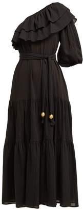Lisa Marie Fernandez Arden One Shoulder Cotton Midi Dress - Womens - Black