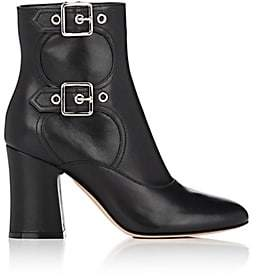 Gianvito Rossi Women's Double-Buckle Leather Ankle Boots - Black