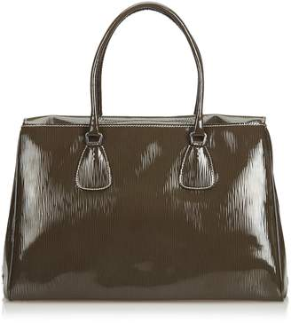 Prada Pre-Loved Brown Patent Leather Handbag Italy