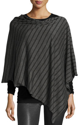 Eileen Fisher Striped Wool-Blend Poncho, Ash/Charcoal, Petite $168 thestylecure.com