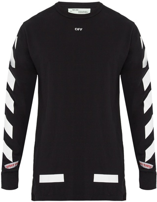 OFF-WHITE Logo-print long-sleeved cotton T-shirt $303 thestylecure.com
