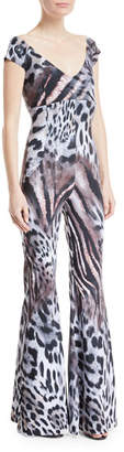 Chiara Boni Thofa Animal-Print Flared Jumpsuit
