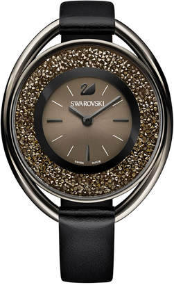 Swarovski Women's Black-Tone Crystalline Leather Strap Watch 43mm