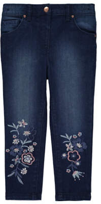 George Blue Floral Embroidered Jeans
