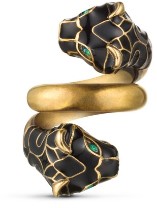 Gucci Tiger head ring with black enamel