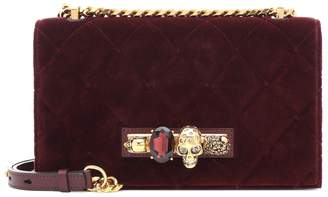 Alexander McQueen Jewelled Medium velvet shoulder bag