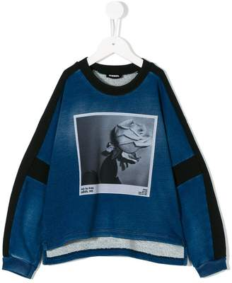 Diesel denim effect photo print sweatshirt