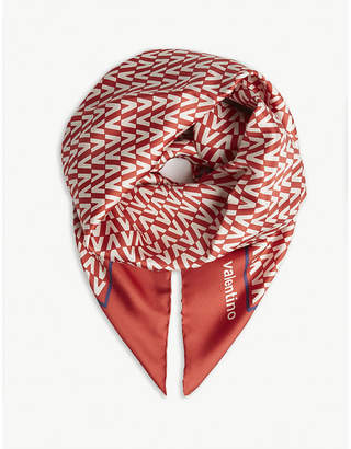 Valentino Logo print square silk scarf