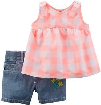 Carter's Baby Girl Checkered Tank Top & Chambray Shorts Set
