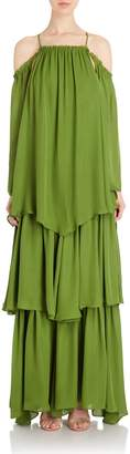 Cult Gaia Athena Layer Gown in Green Chiffon