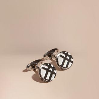 Burberry Check-engraved Round Cufflinks $195 thestylecure.com
