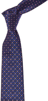 Canali Blue & Pink Floral Tile Silk Tie