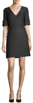 Badgley Mischka V-Neck Brocade Jewel-Button Dress
