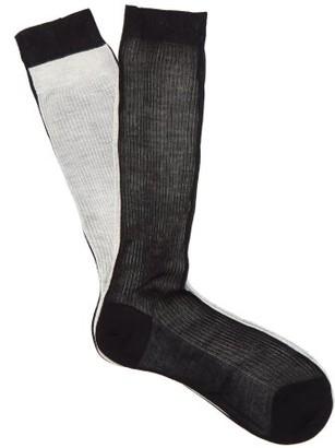 Raey Frankenstein Two Tone Silk Socks - Womens - Black Multi