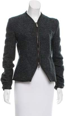 Faith Connexion Leather-Trimmed Tweed Jacket