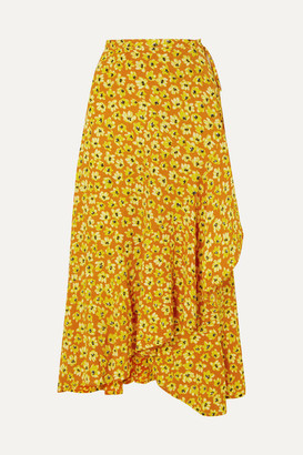 Faithfull The Brand Jasper Floral-print Crepe Wrap Skirt - Saffron