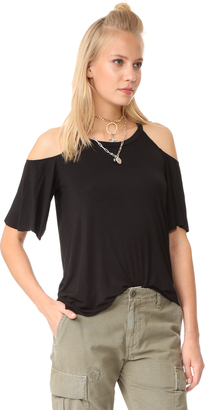 Chaser Cold Shoulder Flounce Sleeve Top $62 thestylecure.com