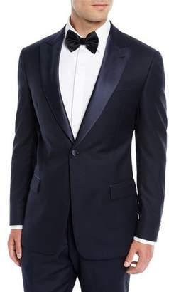 Emporio Armani Two-Piece Wool Tuxedo with Satin Peak Lapel, Navy