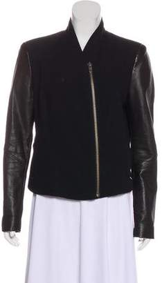 Helmut Lang Leather-Trimmed Zip-Up Jacket