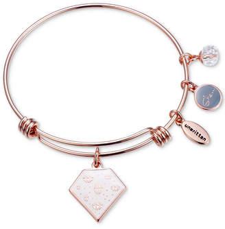 "Unwritten She is Fierce"" Multi-Charm Adjustable Bangle Bracelet in Rose Gold-Tone Stainless Steel"