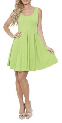 White Mark Women's Bright Fit and Flare Mini Dress