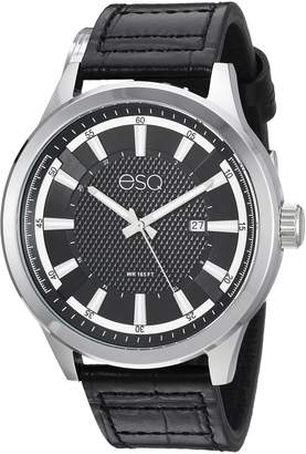 ESQ by Movado ESQ Men's 'Dress' Quartz Stainless Steel and Leather Casual Watch, Color Black (Model: 37ESQE17201A)