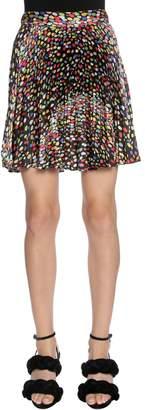 Marco De Vincenzo Printed Plissé Satin Skirt