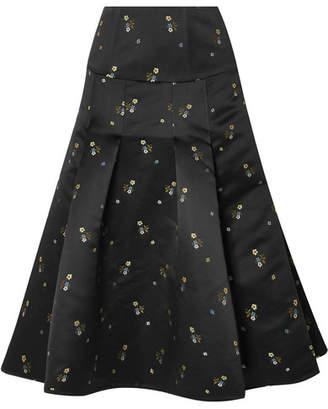 Erdem Gael Pleated Embroidered Duchesse-satin Midi Skirt - Black