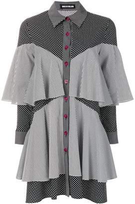 House of Holland patchwork ruffled shirt dress