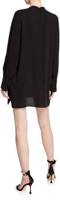 Valentino Camicie Necklace Long-Sleeve Silk Dress