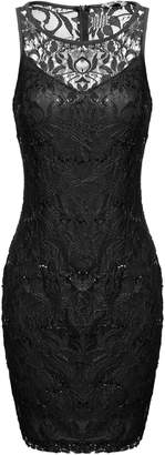 ACEVOG Women's Sequin Illusion Neckline Bodycon Sheath Party Cocktail Lace Dress