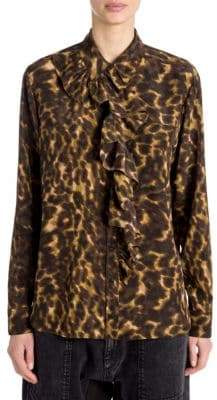 Stella McCartney Leopard Camo Ruffled Silk Blouse