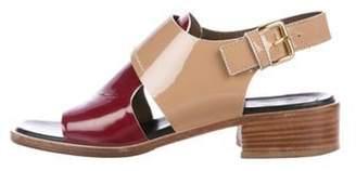 Marni Patent Leather Low-Heel Sandals Tan Patent Leather Low-Heel Sandals