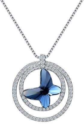 EleQueen 925 Sterling Silver Butterfly Circle Ring Adorned with Swarovski® Crystals CZ Pendant Necklace
