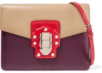 Dolce & Gabbana Lucia Ayers-trimmed Color-block Leather Shoulder Bag - Plum