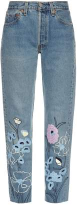BLISS AND MISCHIEF Wild Flower embroidered cropped jeans