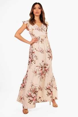 boohoo Boutique Floral Bow Back Maxi Dress