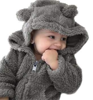 MOUSYA Kids Boys Girls Coat Bear Style Fleece Outwear Hooded Snowsuit Jacket Size