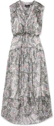 Isabel Marant Eydie Pleated Printed Silk-georgette Maxi Dress - Gray