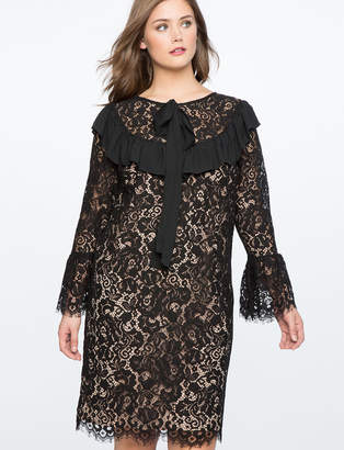 ELOQUII Lace Sheath Dress with Oversized Bow
