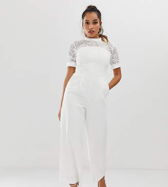 Forever New Petite lace detail jumpsuit in white