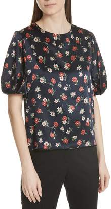 Milly Melinda Puff Sleeve Floral Blouse