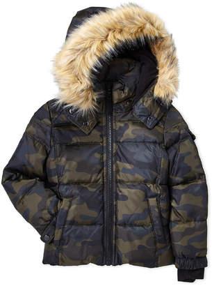 S13 (Toddler Boys) Camo Downhill Faux Fur Trim Coat