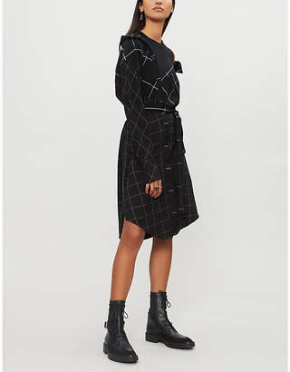 Maje Carreaux asymmetric checked woven dress