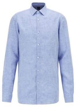 BOSS Hugo Slim-fit shirt in pure Italian linen 15.5 Blue