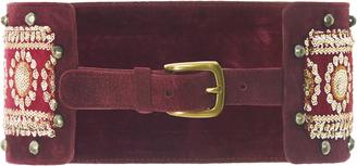 Embroidered Suede Belt