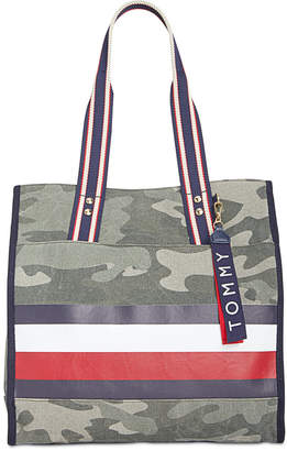 Tommy Hilfiger Carmel Camo Canvas North/South Tote