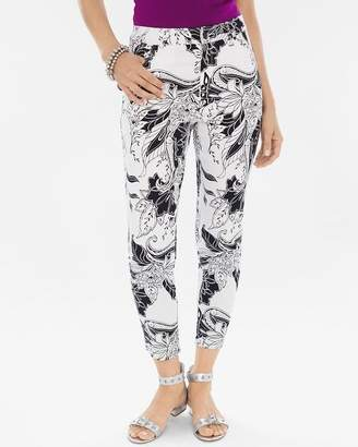 Chico's Chicos Sateen Palm Springs Floral Slim Crops
